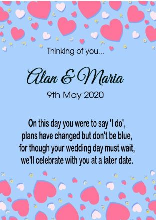 Thinking of you Wedding Postponed Card Hearts Blue